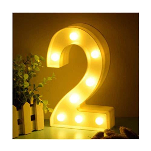 LED Zahlen Lampe Nummer Beleuchtete Ziffern 0 1 2 3 4 5 6 7 8 9,Warm Weiße Lichter Dekoration Lichter Festzelt Licht, für Party Hochzeit Empfänge Home, Batteriebetrieben, von DUBENS (2)