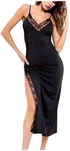 Moda Femenina Lencería para Mujer Estilo y Pijama para Mujer Vestido Lencería para Mujer Camisón Falda De Tirantes Dividida y-Black_S
