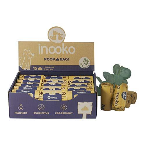 Inooko - 450 bolsas perfumadas de eucalipto para perros - extra grandes, ultrarresistente, a prueba de fugas y biodegradables. - 30 rollos de repuesto para el mes