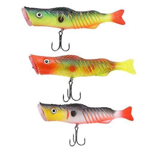 Asixxsix Cebos de Pesca flotantes, Material de Silicona Ganchos triples Diseño Ganchos triples Crankbait, 3 Piezas Pesca para Acampar al Aire Libre en el mar de Agua Dulce
