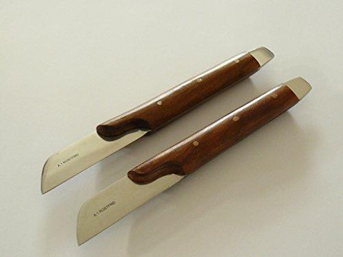 2x Gipsmesser mit Küvettenöffner, geschwungener Holzgriff, 18 cm - Gips Messer