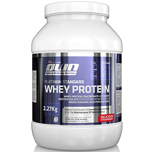 OWN - Platinum Standard Whey Protein Muscle Building Supplement with Glutamine and Amino Acids, Strawberry Flavour, 2.27kg