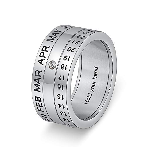 Jewelora Rings for Women Men Personalized Couple Rings with Birthstone Titanium Steel Rotatable Calendar Month Date Ring Free Engraving Gift for Valentine's Day (Silver, O)
