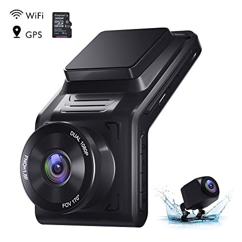 AKASO Dual Dash Cam Front and Rear 1080P Car Camera (2K Single Front) with 32 GB TF Card, 2' IPS Screen, 170°Wide Angle, External GPS, Wi-Fi, Loop Recording, Night Vision, Parking Mode, G-Sensor