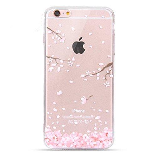 NEOFAY Cover iPhone 6 / 6S, Trasparénte Morbida Addensare Silicone Creativo Carino Modello Protezione Custodia Case (Fiori di Ciliegio)