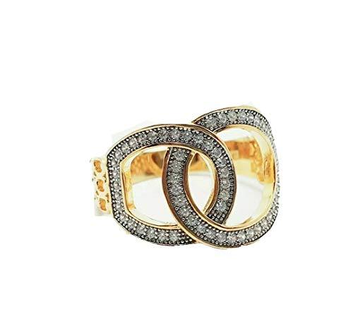 Anillo de diamantes con acabado en oro amarillo de Dubai Gems con diseño de hebilla de corte en racimo, anillo para mujer, aniversario de boda, regalo de compromiso para ella (O 1/2)
