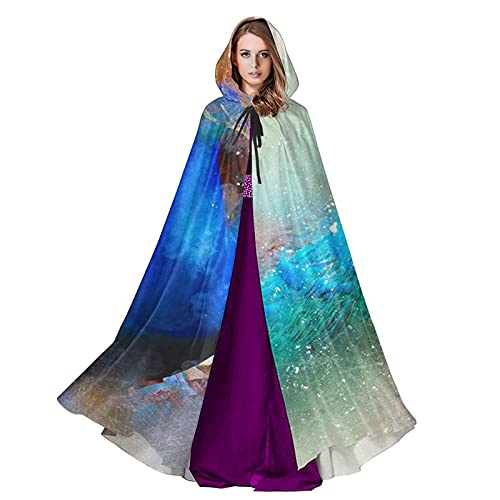 Splashing Peacock Unisex Hooded Cloak Wizard Robe, Halloween Cosplay, Medieval Renaissance Costume.