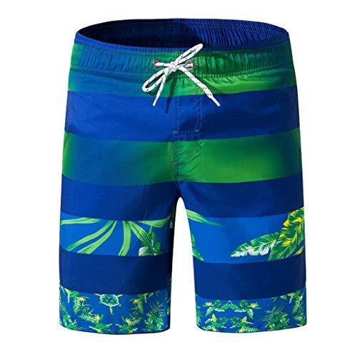 HDUFGJ Badeshorts Sommer Herren Freizeit Hawaii Strandshorts Mit Gesäßtasche Sport Trainingshose Boxen Cargo Shorts Traininghose Baumwolle 3XL(Grün)