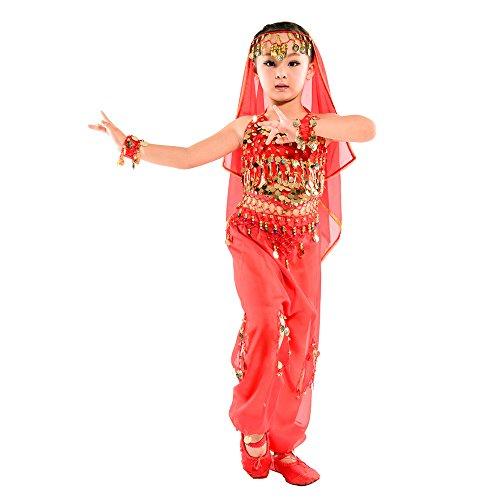 BOZEVON Trajes de Danza del Vientre de Las niñas Indias, Ropa de Baile de Egipto,Tops + Pantalones + Cadenas de Cintura + 2 Pulseras + Velo (Rojo,EU XS = Tag S)
