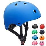 Casco Bicicleta para Niños Casco Infantil Ajustable para Monopatín Patinaje BMX Esquiar, Casco para multibles Deportes niño niña de Edad de 3-13 años (Azul, Small)