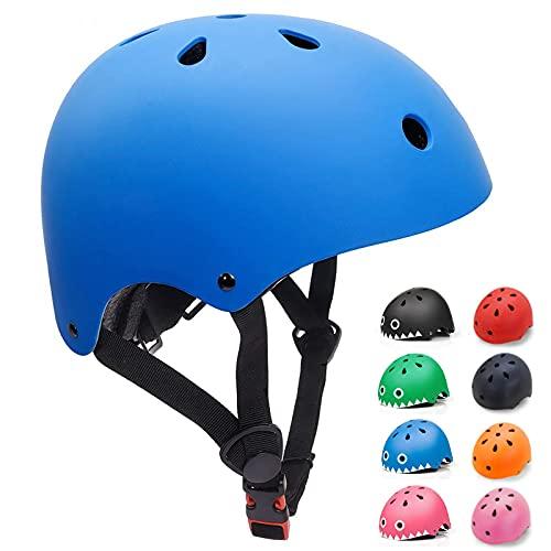 KORIMEFA Kinderhelm Fahrradhelm Kinder Skaterhelm Verstellbar für 3 Jahre Junge CE-Zertifizierung für Fahrrad Skateboard Scooter BMX 3-13 Jahre Alt Junge Mädchen (Blau, S: 48-54 cm)
