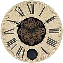 Pendulum wooden gear wall clock