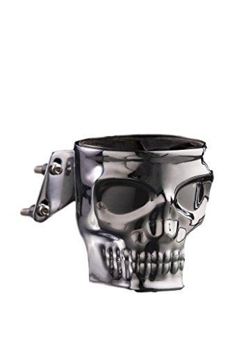 Kruzer Kustom Kaddy Chrome Skull Motorcycle Cup Holder