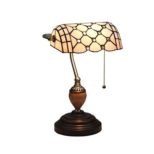 lampara de lectura Tejido a mano simple estadounidense lámpara de mesa con la extracción del interruptor de la gema de cristal Iglesia antigua de metal E27 lámpara de escritorio for Cafetería Bar Lámp