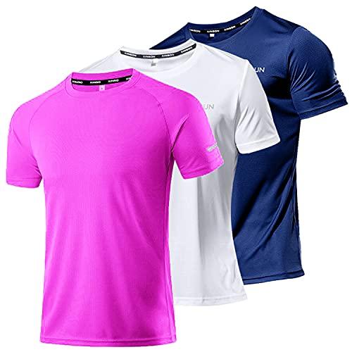 Findci Pack de 3 camisas de hombre secas atléticas de running – Camiseta de manga corta transpirable, 3 pack/Set1, XL