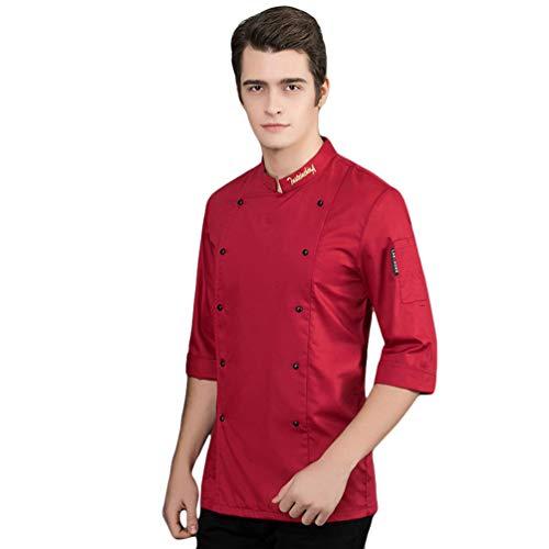 WanYangg Cuoco Unisex Giacca da Chef Traspirante Professionale Manica Corta Divise da Cuoco Hotel Cucina Camicia Uniformi da Chef 3#Rosso XXXL
