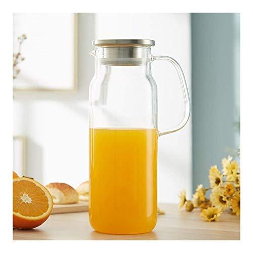 HJYSQX Hervidor 1800mL / 60.87oz Jarra de Vidrio con asa y Tapa del Filtro Jarra sin Goteo para Sala de Estar Oficina Hospitalidad Botellas de Bebidas para té