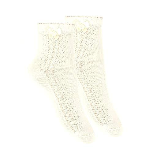 Cóndor Calcetines tobilleros con calado lateral y lazo Beige, Talla 8 (32-35)
