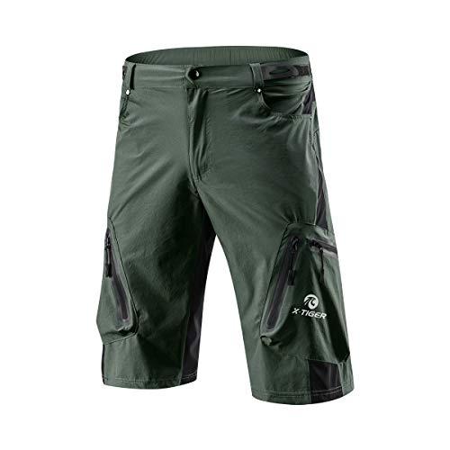 X-TIGER Pantalones Cortos de Ciclo Holgados de Hombres, Transpirables Sueltos, para MTB de los Deportes al Aire Libre (XL, Verde del ejército)