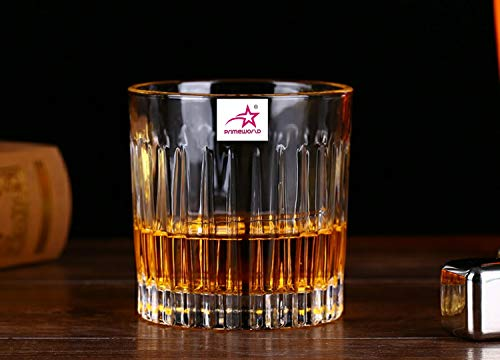 PrimeWorld Glass Whiskey/Scotch Glass - 6 Pieces, Clear, 300 ml