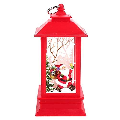 BESTOYARD Lámpara Colgante navideña Linterna con Velas LED alimentada por la lámpara Centro de Mesa de Papá Noel (Marco Rojo)