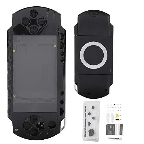 ASHATA Reemplazo de Cubierta Completa de la Carcasa para la Consola de Juegos Sony PSP 1000, Protección Fuerte Cáscara Antideslizante con Kit de Botones (Negro)