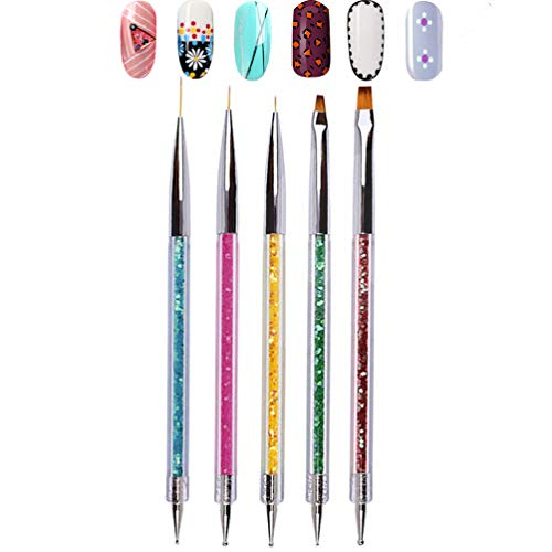 Double Ended Nail Art Brushes, TEOYALL 5 PCS Nail Dotting Pen Liner Brush Nail Art Point Drill...