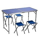 Juego de mesa y silla para exteriores, juego de mesa y silla plegable de aleación de aluminio para exteriores, mesa de jardín portátil para 4 personas, para picnic y barbacoa, juego de mesa y silla