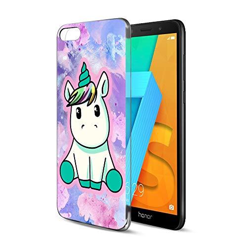 ZhuoFan Cover Honor 7S, Custodia Cover Silicone Trasparente con Disegni Ultra Slim TPU Morbido Antiurto 3D Cartoon Bumper Case Protettiva per Honor 7S 2018 Smartphone (Grazioso Unicorno)