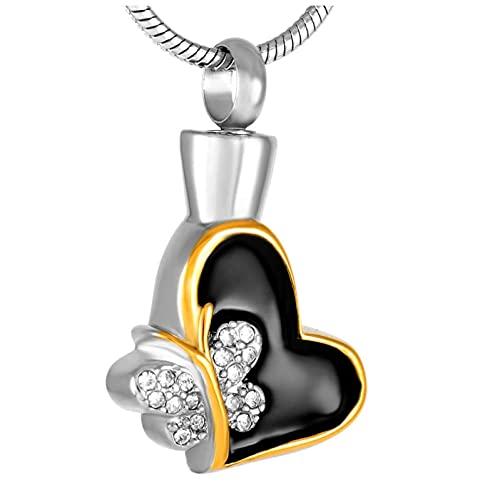 Wxcvz Colgante para Conmemorar Colgante De Urna De Mariposa Y Corazón, Medallón De Recuerdo para Mujer, Collares De Cremación De Acero Inoxidable, Joyería para Cenizas