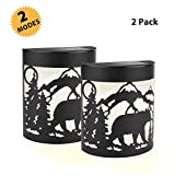 Greluna Solar Lights Outdoor, 2 Modes Solar LED Outdoor, Solar Wall Lights for Deck, Fence, Patio, Front Door, Stair, Landscape, Yard and Driveway Path, Warm White/Color Changing, Pack of 2, (Bear)