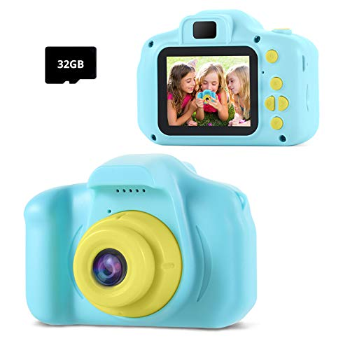 TekHome KinderKamera ,Geschenk für Junge 3 4 5 6 Jahre,Spielzeug ab 7-12 Jahren Jungs,Kinder Fotoapparat mit Spiele/1080P HD/ 32G TF Karte (Blau)