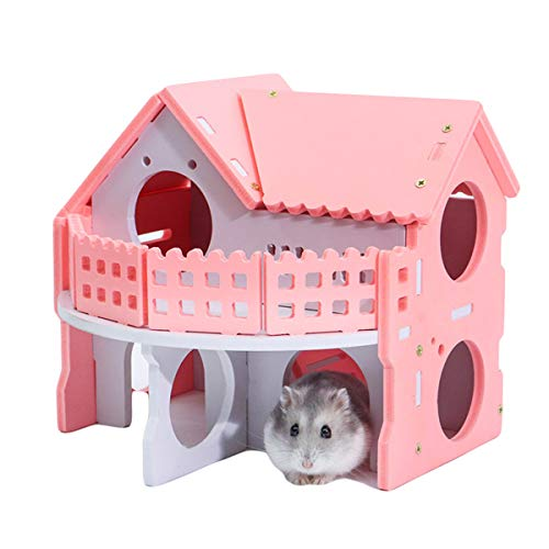 Winnfy Escondite de Hámster Casa Cabaña Villa Cabaña con Balcón Casa de Juegos para Hámster de Dos Pisos Escondite de Animales Pequeños Cabaña Nido para Dormir