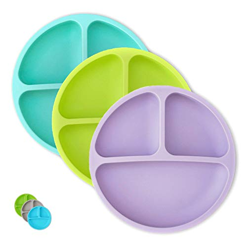 Hippypotamus Toddler Plates - Kids Plates - 100% Silicone Divided Plate for Baby - BPA Free - Microwave Safe Dishes - Set of 3 - Teal, Lime, Lavender