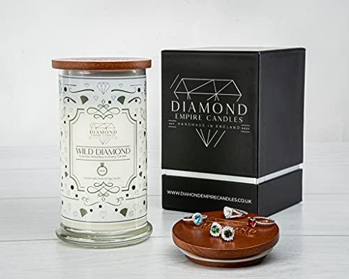 Diamond Empire Vela de diamantes salvajes con joyas sorpresa en el interior (joyas sorpresa de hasta 2.500 £) 2 mechas velas (quemado hasta 120 H) (anillos, N/O)