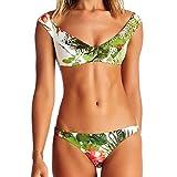 DKNBI Bikini con Estampado de Flores Traje de baño Retro Vintage de Verano Traje de baño brasileño Traje de baño Verde Biquini Sexy Traje de baño Push Up Mujer