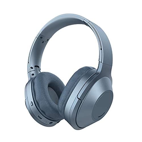 Auriculares Bluetooth Auriculares Cancelación de Ruido sobre Oreja Auriculares Memoria de Alta fidelidad Earpads Carga RÁPIDA DOPLETABLE Juego (Color : Blue A)