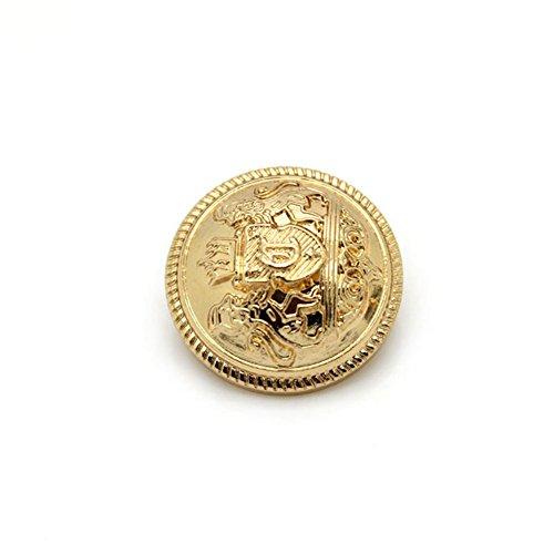 Confezione da 10 eleganti bottoni decorativi in metallo, superficie smaltata e logo distintivo, con attacco per cappotto o abito, Gold, 25 mm