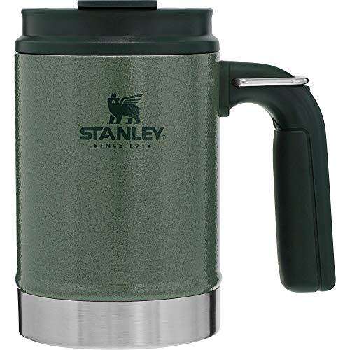 Stanley Legendary Classic Thermo-Becher für Camping 0.47L, Hammertone Green, 18/8 Edelstahl, Doppelwandige Vakuum-Isolierung, Weiter Griff, Edelstahlbecher Thermo Kaffeebecher Camping Geschirr