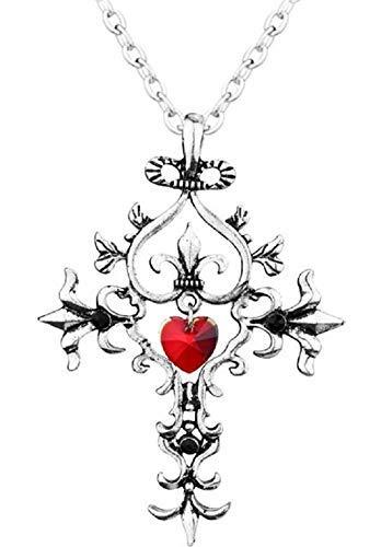 Kiralove - Collar con colgante de cruz gótica, película de vampire Diaries, Elena Gilbert, circonita - Corazón rojo - Diario de un vampiro - Serie TV - Cosplay - Mujeres - Chicas
