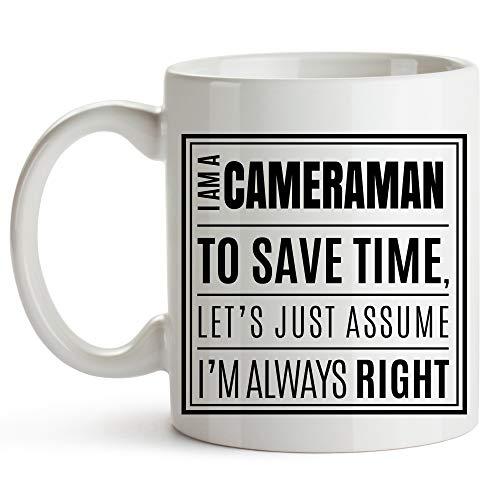 DJNGN Taza Cameraman, 11 onzas, divertida taza de café Cameraman