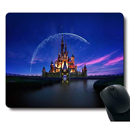 Classic Fantastic Cartoon Castle with Fireworks in The Blue Sky Unique Design Mouse Pad