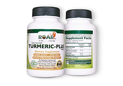 Highest Potency Turmeric Curcumin Plus Complex with Ginger and Black Pepper Extract with Maximum Absorption for Pain Relief and Joint Support, Vegetarian Capsule, Non-GMO, Gluten Free Capsules