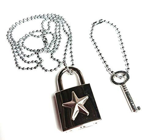 H888(SHOUT RUE)星☆南京錠 ステンレス ボール チェーン ネックレス+鍵キーホルダーのセット