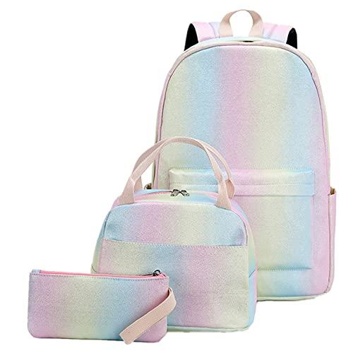 3 Stks Schooltassen voor Meisjes Prints Schoudertas Kids Waterdichte Rugzak met Lunch Bag Casual Dagpack Lichtgewicht…