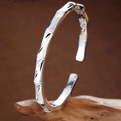 GPWDSN Bracelet Bamboo Newspaper Peace Silver Bracelet Women's Simple Solid Silver Jewelry National Style Sterling Silver Silver Bracelet Valentine's Day Gift women
