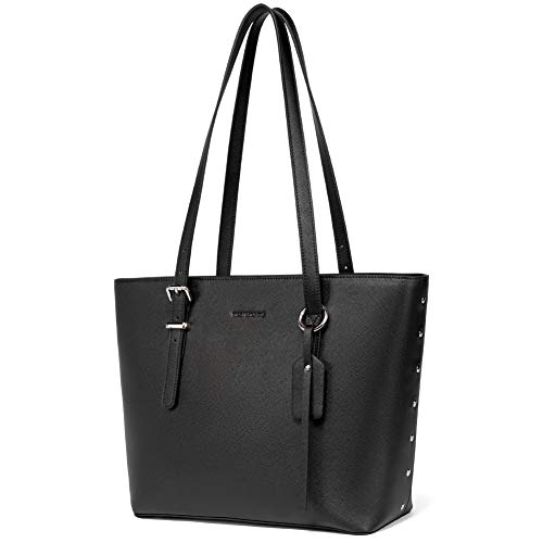WESTBRONCO Women Leather Handbags Purses Designer Tote Shoulder Bag Top Handle Bag for Daily Work Travel (C-Black)
