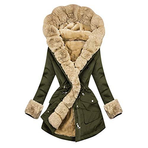 TWIOIOVE Zip Up Hoodie Oversized Jacke Damen Fleecejacke Übergangsjacke Plus Samt Winterjacke Teddy Fleece Plüschjacke Gemütlich Warm Winterparka Plüsch Kälteschutz Kapuzenjacke