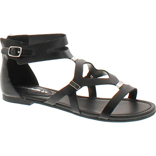Breckelle's Women's Ruby-61 Cutout Gladiator Sandal,Black-51,8