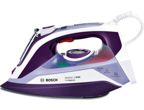 Bosch Sensixx 'x DI90–Bügeleisen (Bügeleisen vapor-seco, Sohle Ceranium glisée Pro, 2,5m, Violett, Weiß, 65g/min, 0,4l